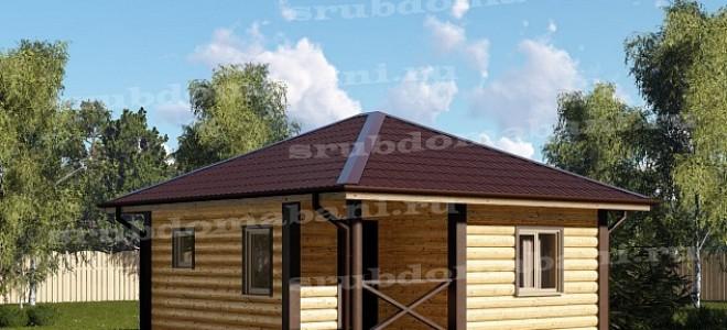 баня из бревна с четырехскатной крышей