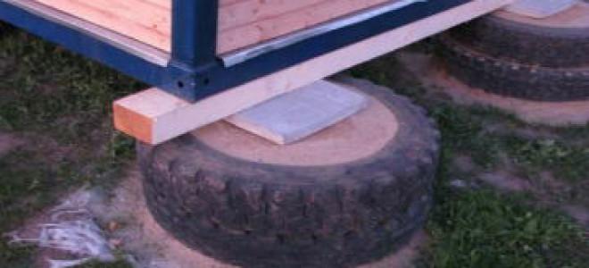 баня на фундаменте из автомобильных покрышек